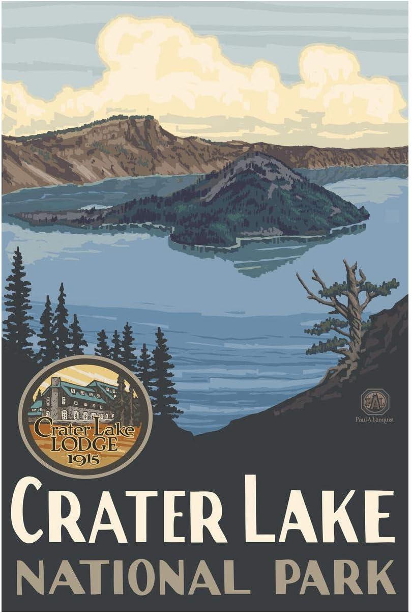 "Crater Lake National Park Giclee Art Print Poster from Original Travel Artwork by Artist Paul A. Lanquist 12"" x 18"""