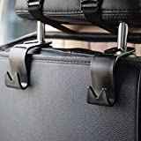 IPELY Car SUV Back Seat Headrest Hanger Storage Hooks(Black -Set of 4)