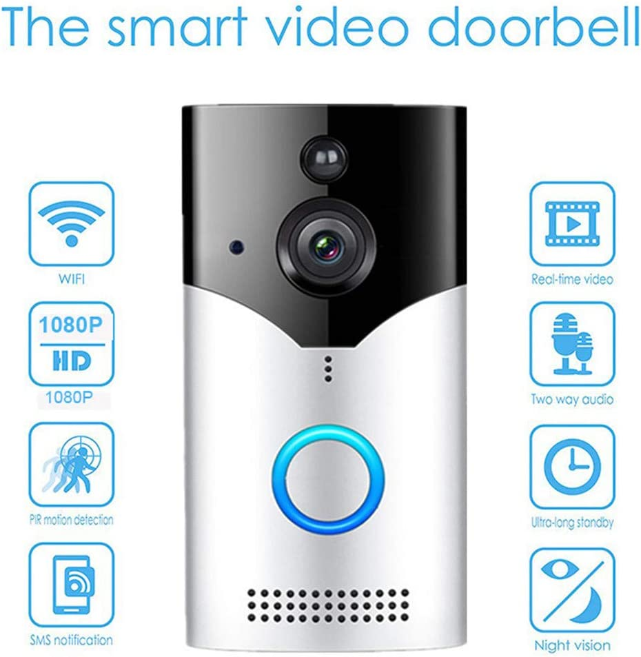 Home WiFi Video Smart Wireless Security Doorbell, Wireless Doorbell Camera with Chime, Waterproof 1080P HD Security Camera, Visual Intercom Recording Video Kits (Multicolor)