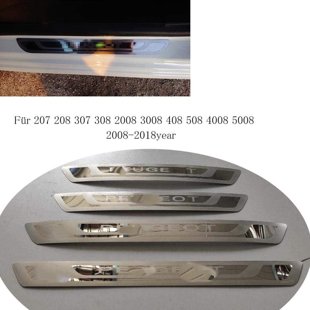 N//A Autocollant Protecteur de seuil de Porte de Voiture pour Peugeot 308 208 508 207 3008 2008 307 raccords de seuil de Plaque de seuil de seuil de Porte ext/érieur d/écoration de Bienvenue