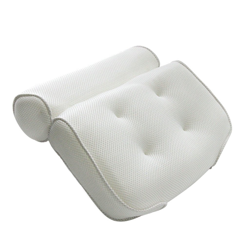 Gaeruite Spa Bath Pillow with Head Support for People, 3D Mesh Bathroom Bathtub Waterproof Sponge Spa Bath Pillow, Backrest Headrest Suction Cup Bath Cushion