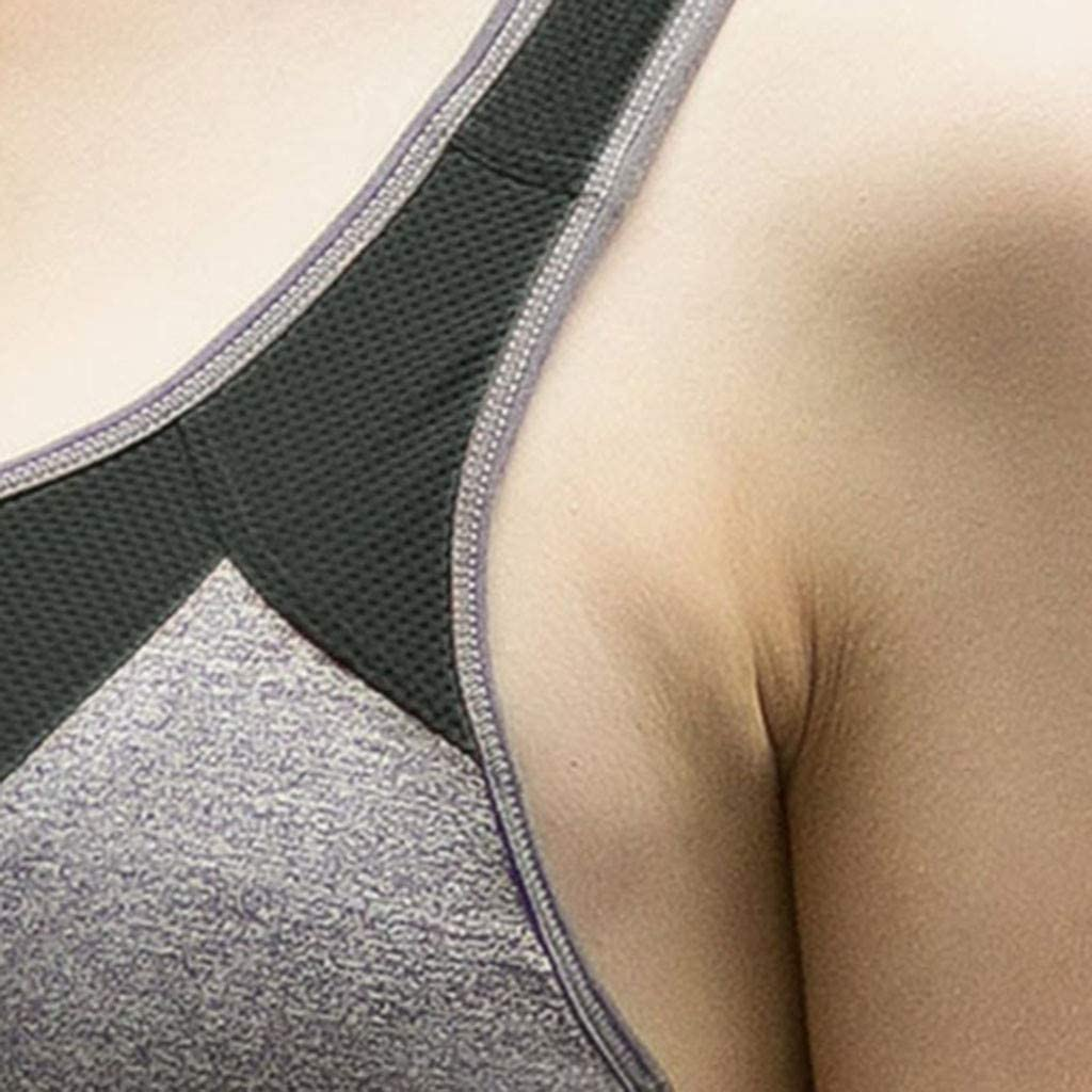Womens Post-Surgery Front Closure Brassiere Sports Bra Front Zip Sports Bra Full Support Racerback Wire Free Bra