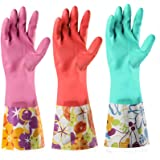Dishwashing Rubber Gloves 3 Pairs, Aixingyun Non-Slip Household Laundry Kitchen Cleaning Gloves, Reusable PU Waterproof Latex
