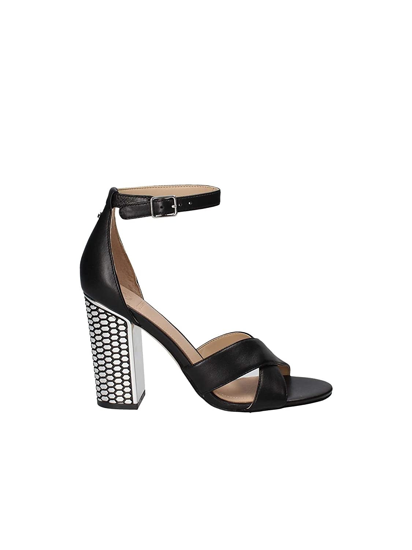 Guess FLRNE1LEA03 Sandalo Donna in Pelle Nera MainApps Black