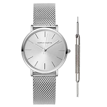 Hannah Martin 36mm Japan Quartz Women Wrist Watch Stainless Steel Mesh Band Girls Watches (Silver