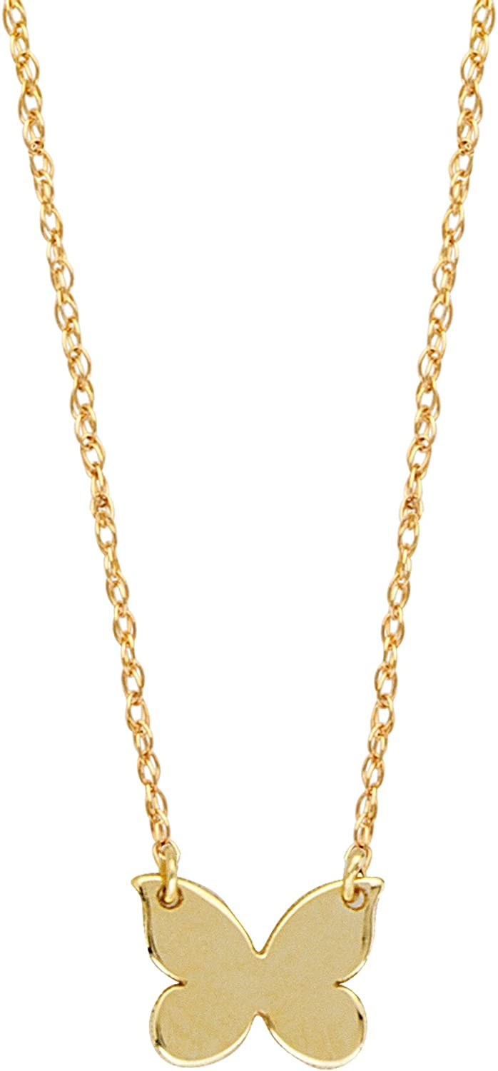14K Yellow Gold Butterfly Pendant on an Adjustable 14K Yellow Gold Chain Necklace