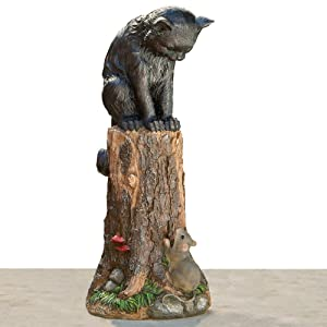 "Bits and Pieces - Cat & Mouse Garden Statue- Outdoor Kitten on a Stump Sculpture - 17"" Polyresin Home Décor Weather Resistant Lawn Ornament"
