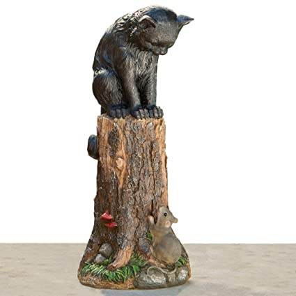 Bits And Pieces   Cat U0026 Mouse Garden Statue  Outdoor Kitten On A Stump  Sculpture