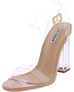 519a8157b11 CAPE ROBBIN Maria-2 Women s Lucite Clear Strappy Block Chunky High Heel  Open Peep Toe