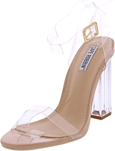 Transparent Strappy Open Toe Shoes Heels for Women Cape Robbin Maria-2 Clear Chunky Block High Heels for Women