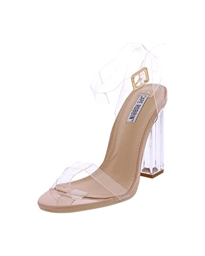 48822e9c7db3 CAPE ROBBIN Maria-2 Women s Lucite Clear Strappy Block Chunky High Heel  Open Peep Toe