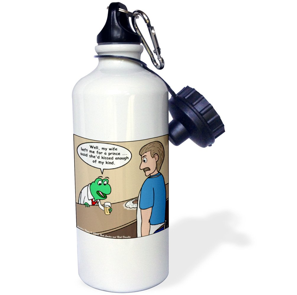 21 oz White 3dRose wb/_1411/_1The Frog And The Bartender Sports Water Bottle