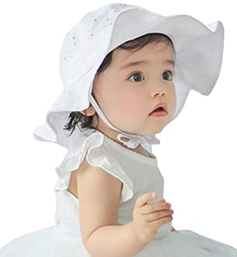 c16f28946 Baby Toddler Girls Large Brim Sun hat with Chin Strap Cotton UPF 50+ Sun  Protection Bucket Hat Cap for Baby Girls 10-42 months