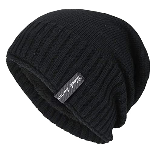 c4af894db5f Image Unavailable. Image not available for. Color  YSense Mens Winter Warm Slouchy  Beanie Oversized Baggy Hat Fleece Lined Knit Skull Cap