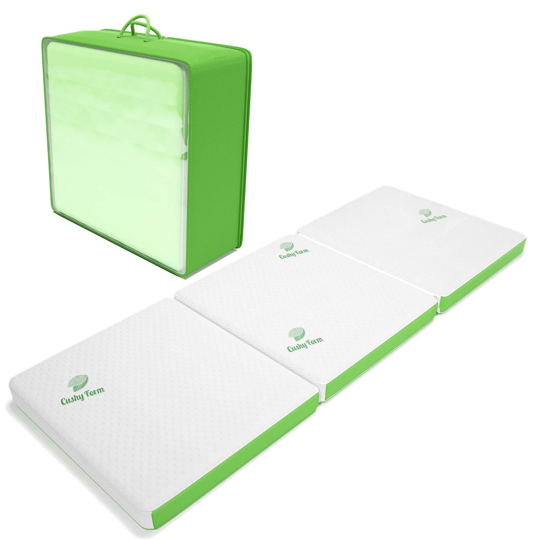 5. Cushy Form Tri-Fold Folding Mattress w/Storage & Carry Case [75 x 31 x 4 inch]