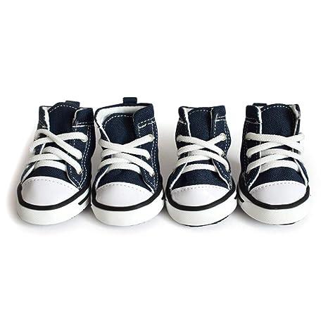 HOCOVER Zapatos de 4 Piezas de Mezclilla para Perros Zapatos Deportivos Ligeros y Transpirables Zapatillas para