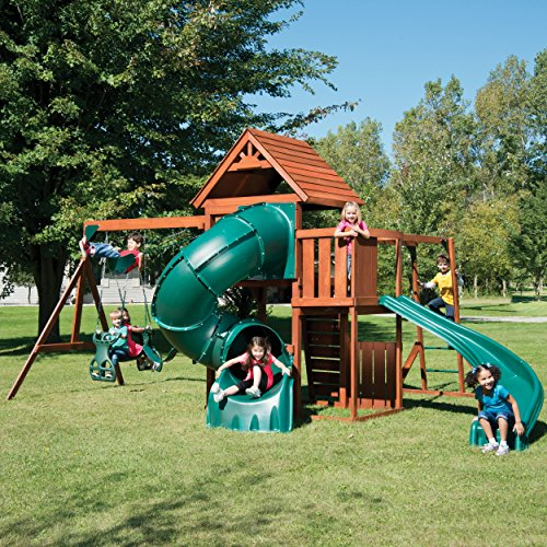 Swing-N-Slide Grandview Twist Play Set with Two Slides, Two Swings, Monkey Bars, Glider and Climbing Wall