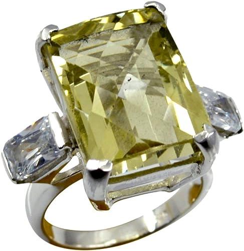 Genuine Lemon Quartz Ring Gift Vintage Handmade Round Cut Bezel Style 925 Silver Size 5,6,7,8,9,10,11,12