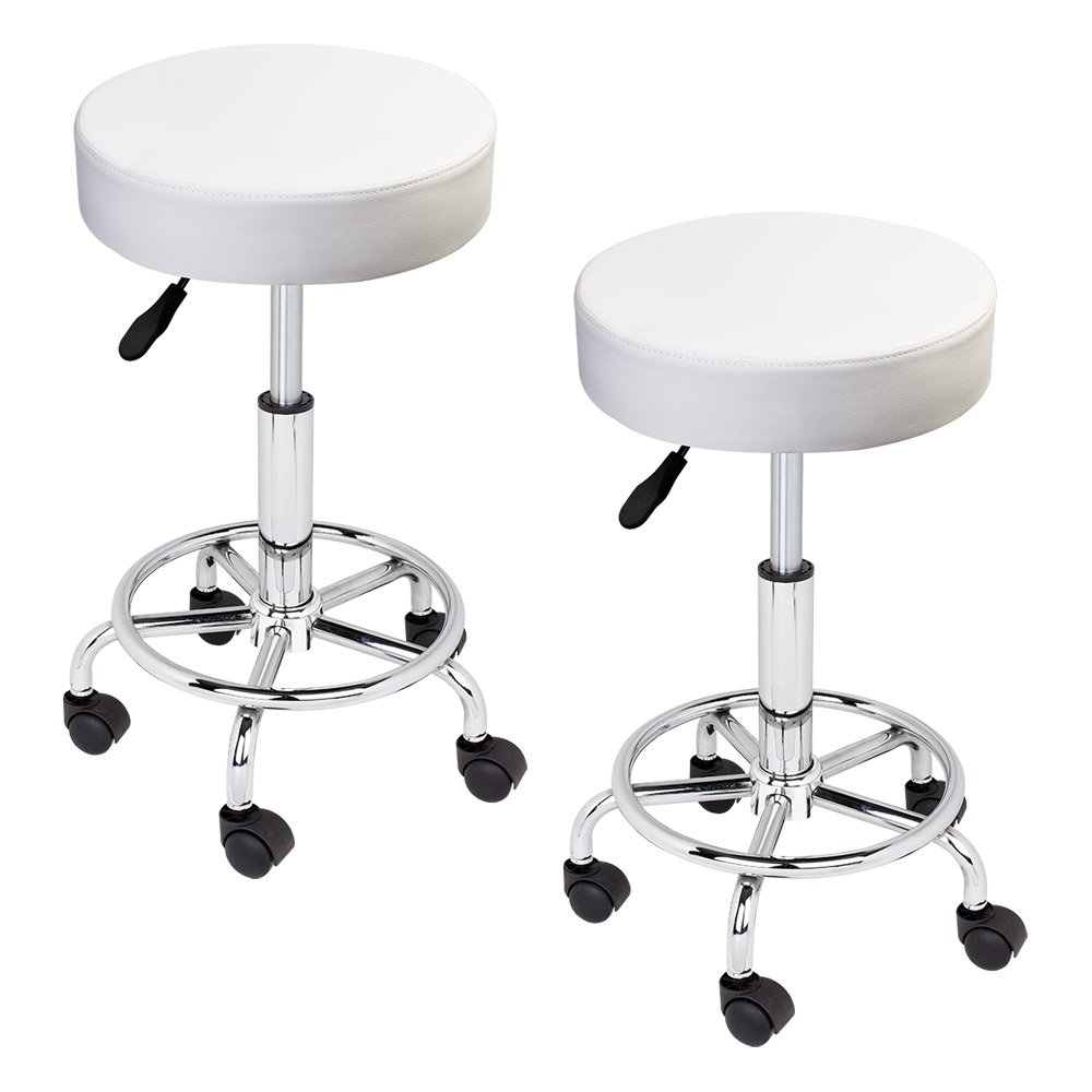 GotHobby 2 White Adjustable Tattoo Salon Stool Hydraulic Rolling Chair Facial Massage Spa