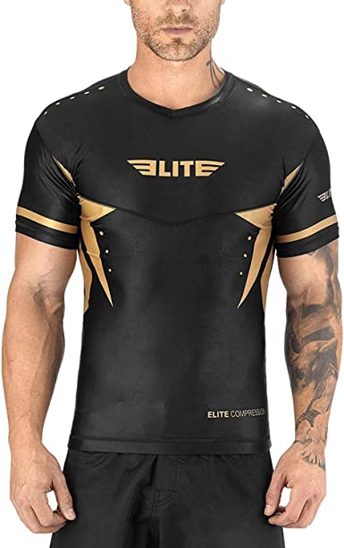 Best BJJ Raked Short Sleeve Rashguards Elite Sports BJJ MMA No-Gi Mens Rash Guard for Men White, Medium