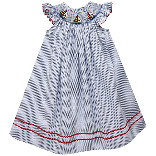 Vive La Fete Hand Smocked Sailboat Girls Bishop (Smocked Sailboat)