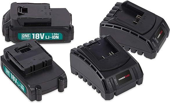 POWERPLUS POWEB9090 - Pack 2 baterías 18v litio 1.5ah + 2 cargadores: Amazon.es: Bricolaje y herramientas