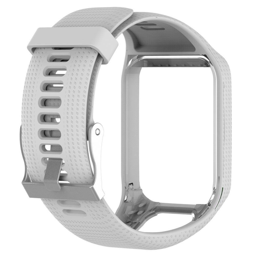fetesoクイックリリースシリコンリストバンド交換用時計バンド、バンドストラップfor TomTom Runner 2 / 3 Sport GPS Watch  ホワイト B079FSVDN8