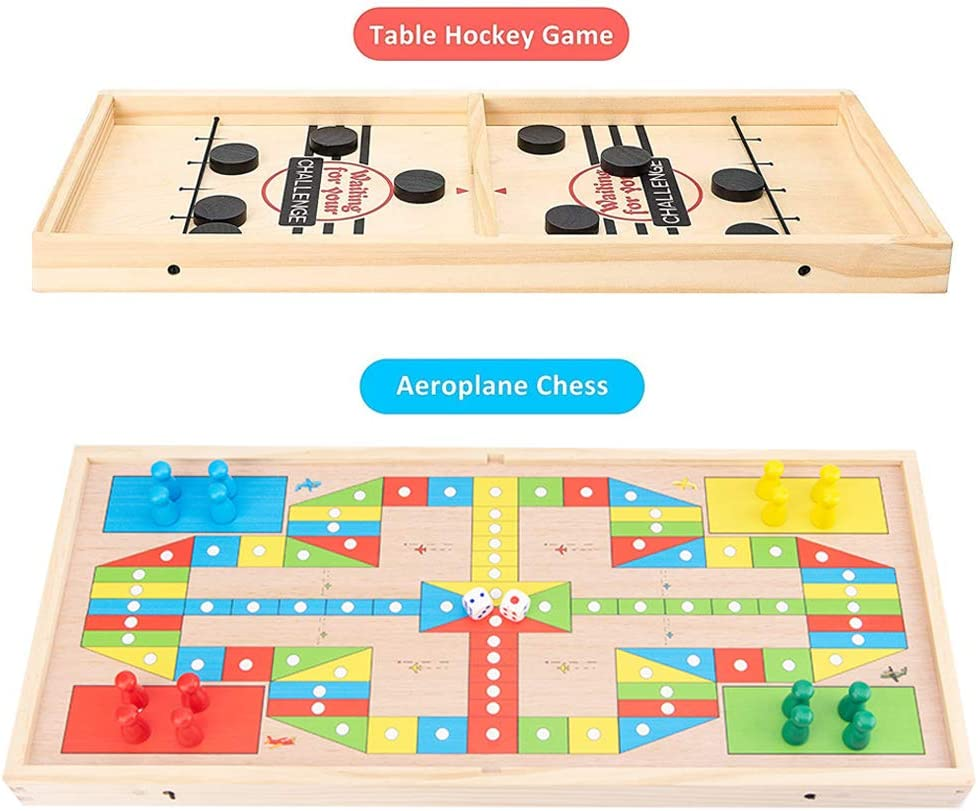 CS COSDDI Fast Sling Puck Game,1 Set Wooden Board Game 2 In1 Fast Sling Puck Game/&Flight Chess Toys,Parent-Child Interaction Toy Adult