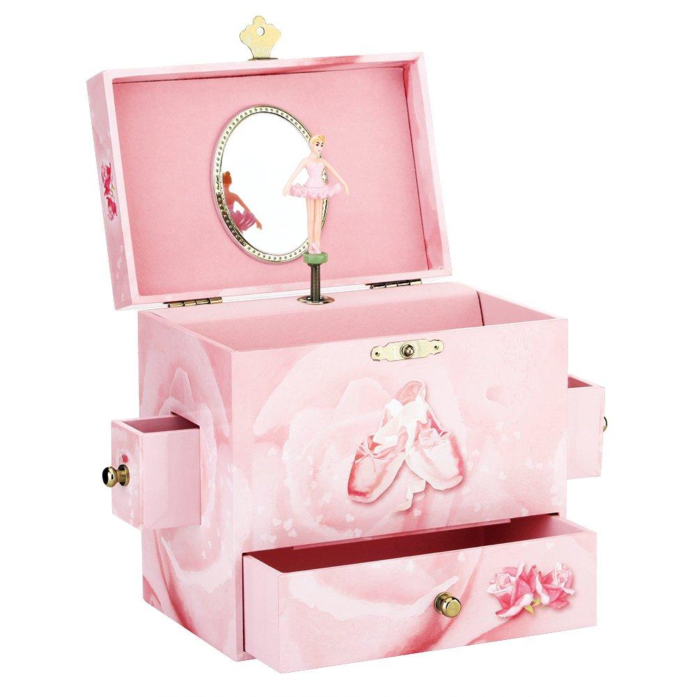 Round Rich Musical Jewelry box - Musical Storage Box a twirling ballerina figurine - Swan lake Tune