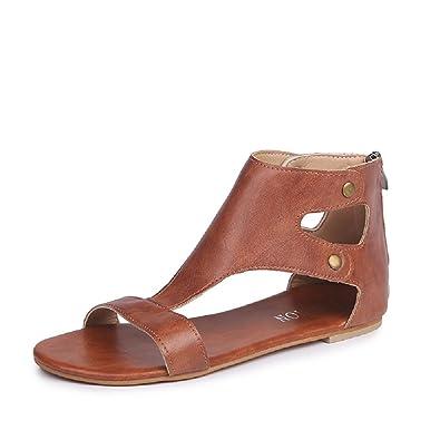 Damen Sommer Sandalen, Frauen Flach Peep Toe Leder Bequeme Reißverschluss  Typ Badesandale Rutschfest Flip- 2ffb67681a