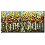 hotel artwork - Asdam Art-Hand Painted 3D Painting Yellow Forest Paintings On Canvas Moder Landscape Wall Art Living Room Bedroom Wall Artwork Home Office Hotel Wall Decor(24x48inch)