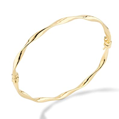 1964208839 MiaBella 18K Gold Over Sterling Silver Italian Twisted Hinged Bangle  Bracelet for Women Girls from 6.75 to 8 Inch, 925 Made in Italy