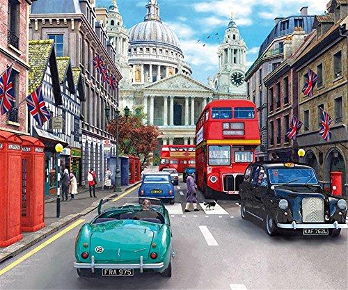 CaptainCrafts DIY 5D Diamond Painting by Number Kits Full Drill Diamond Painting - England London, car Street Scene (30X25cm/12X10inch)
