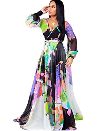 Bushangban Womens Chiffon Deep V-Neck Printed Floral Maxi Dress Long  Sleeves Dresses High Waisted Plus Size
