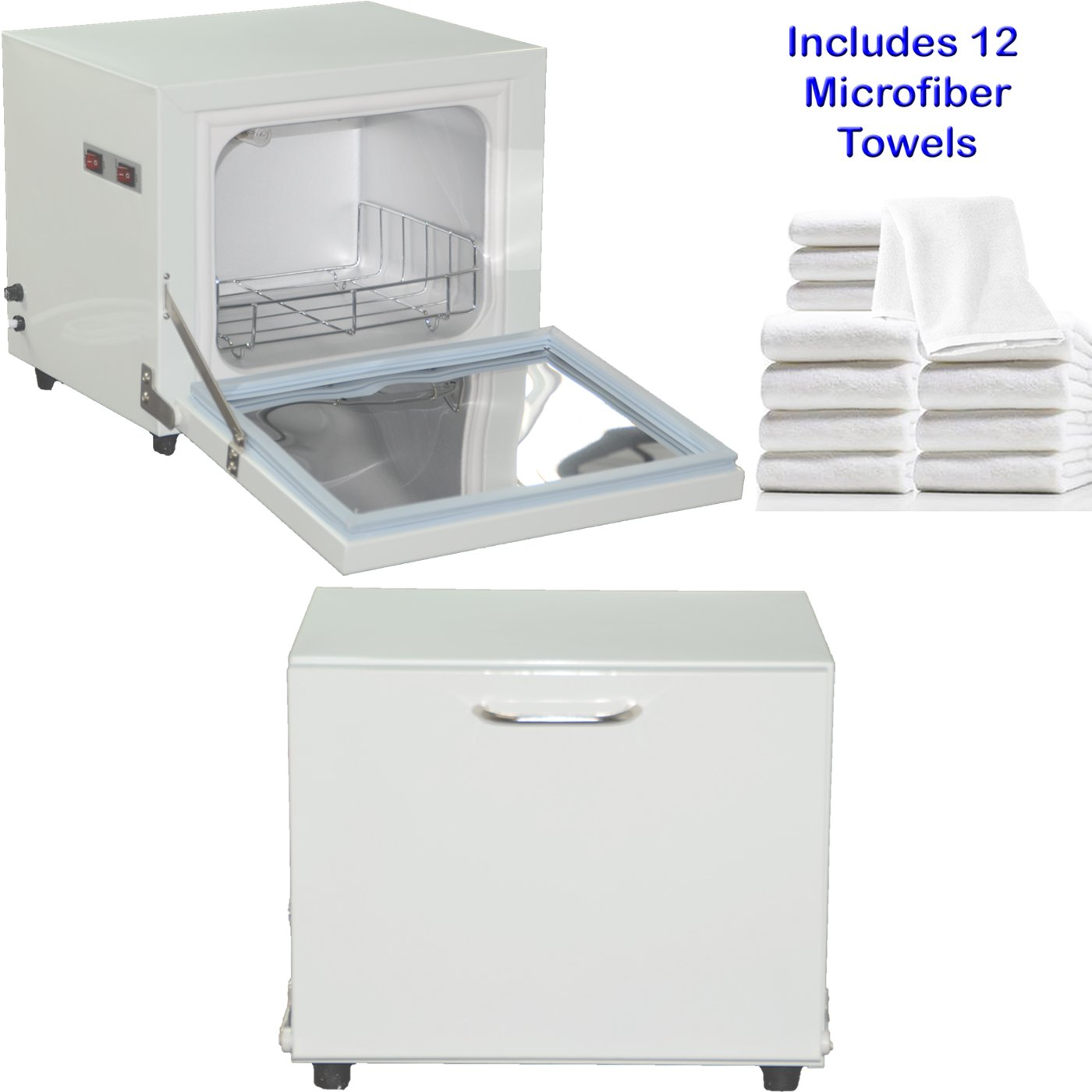 Compact 2-in-1 Towel Warmer & Ultraviolet Sterilizer Cabinet with 12 Facial Towels LCL Beauty