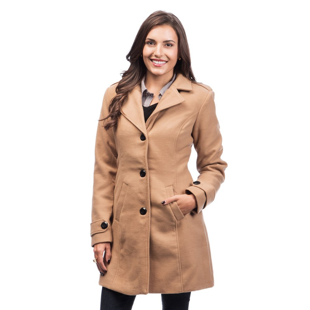 Fourteen Zero Women Trench Coat Jacket Single Breasted Woolen Missy Size L 10-12