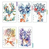 Lzttyee Deer Translucent Index Dividers Category Page Tabs Indexing Cards Match for 6-Holes Binders Notebook/Dairy Planner, 5 Sheets/Set (A5, Deer B)