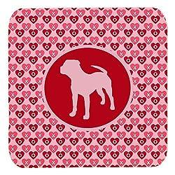 Pit Bull Valentine Hearts Foam Coasters