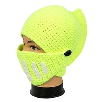 82b21f760d3 Amazon.com  Unisex Roman Knight Style Helmet Cap Handmade Knitting  Windproof Hat Face Mask Beanies(Green)  Baby