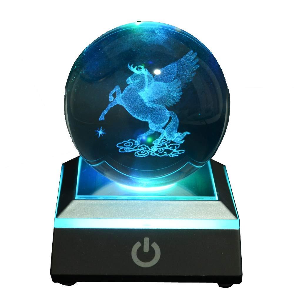 S-SO 3D Pegasus Horse Night K9 Crystal USB LED 7-Color Changing Desk Light