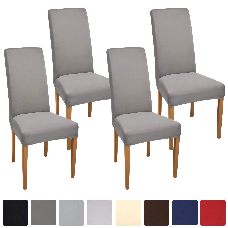 Beautissu Set da 4 fodere coprisedia eventi, arredo e decorazione interni - serie Mia - 45x45cm - morbido tessuto bielastico ÖKO-TEX Standard - bianco