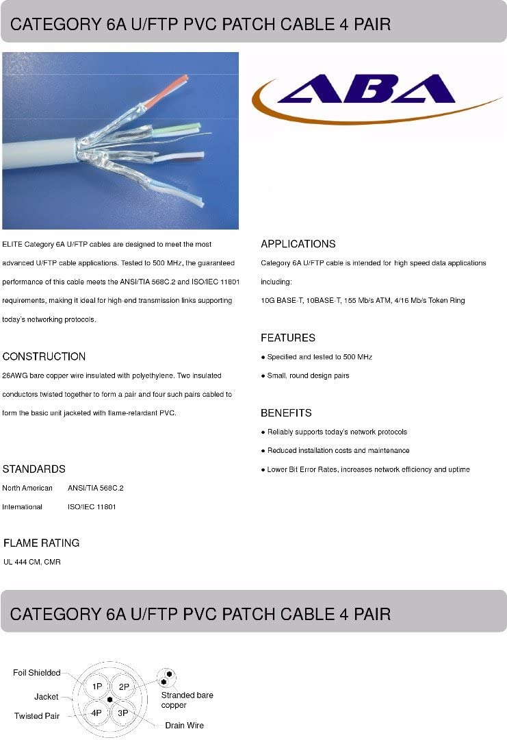 Elite CAT6A Snag-Free Ethernet Patch Cable 750MHz High Performance 100/% Pure Copper 5 PACK 25 Feet Gray