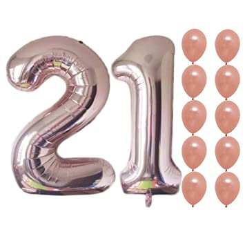 NANOOER Rose Gold Happy Birthday Balloons Decorations Cute Party Supplies And