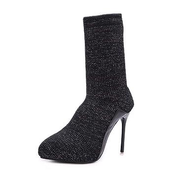 SFSYDDY Zapatos Populares/Calcetines Zapatos con Alto 11Cm Elastico Terciopelo Lana Kick Medio Tubo De Algodon Corto Botas Botas.