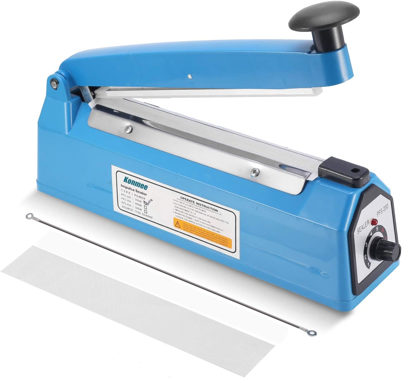 Konmee 8 Inches Impulse Commercial Bag Sealers Heat Sealing Machine for Mylar Cereal Plastics Polythene Bags with One Repair Kit