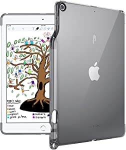iPad 9.7 Case, Poetic Lumos TPU Cover with [Pencil Holder][Apple Smart Cover Compatible] Ultra-Thin Impact Resistant Flexible Soft TPU Case for iPad 9.7 (6th Gen 2018)(5th Gen 2017) Transparent Gray