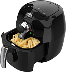 LATURE 5.8Qt,Electric Hot air fryer cooker, Healthy &No Oil added with Nonstick Frying Pot & Detachable Safe Basket,2 year warranty,CR-5010,1700watt (BLACK)