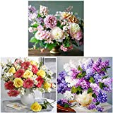 3 Packs 5D Full Drill DIY Diamond Painting Kit Flowers Embroidery Cross Stitch Paintings for Home Decoration(30x30CM/12''x12'')
