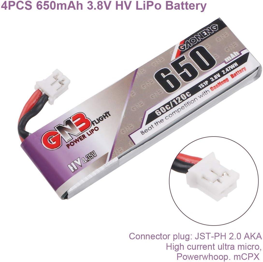 Batteria LiPo 650mAh 1S 3.8V HV 60C con connettore JW-PH 2.0 PowerWhoop mCPX per Mobula 7 Inductrix FPV Plus 75mm Kit Telaio Micro FPV Drone 8PCS