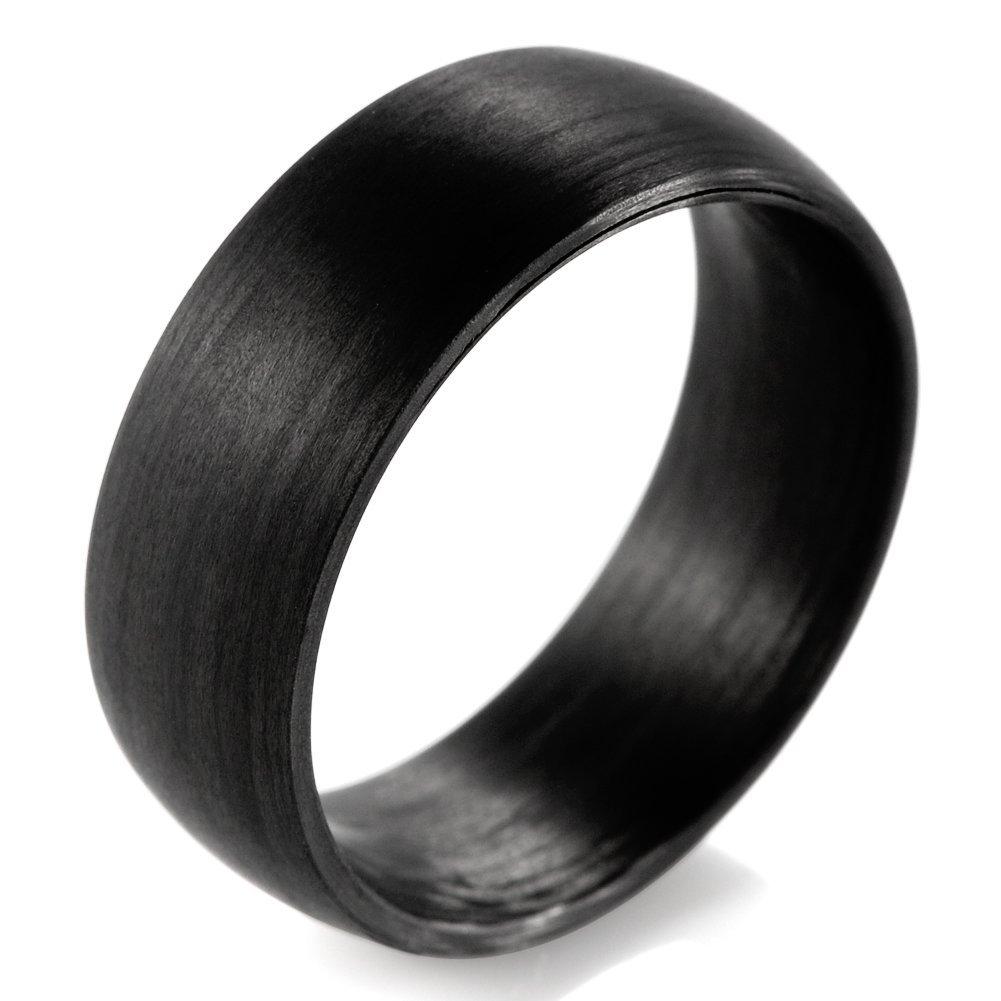 SHARDON Men's 8mm Domed Pure Carbon Fiber Wedding Ring Size 10